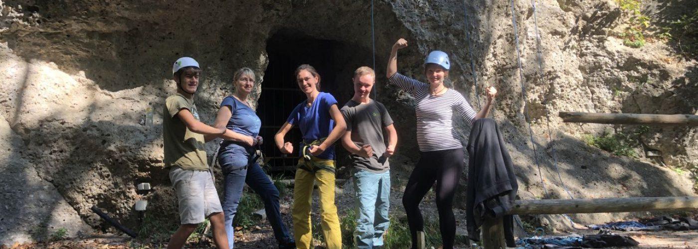 Gruppenfoto der fünf Teilnehmer des Klettertreffs