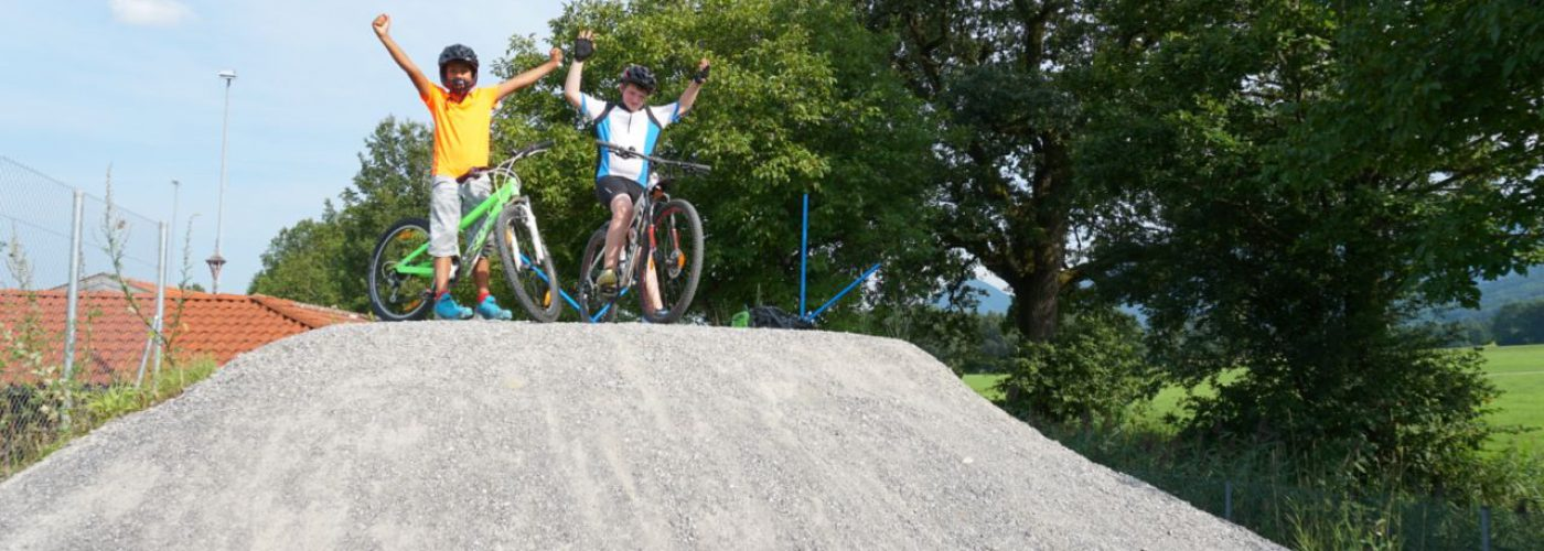 Zwei Jungen jubelnd auf einem Hügel mit ihren Rädern
