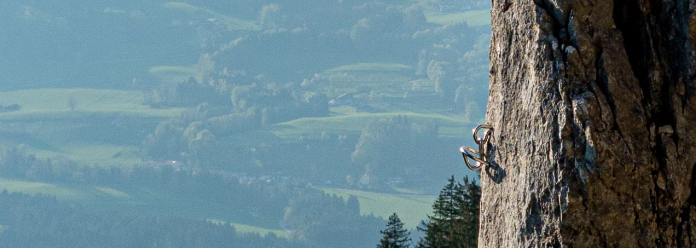 Nahaufnahme Kletterhaken am Lamprechtsfels Panorama